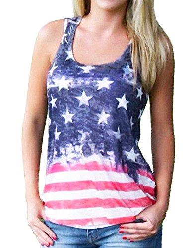 Womens American Flag Print Shirt Summer Sleeveless Racerback Tank Tops