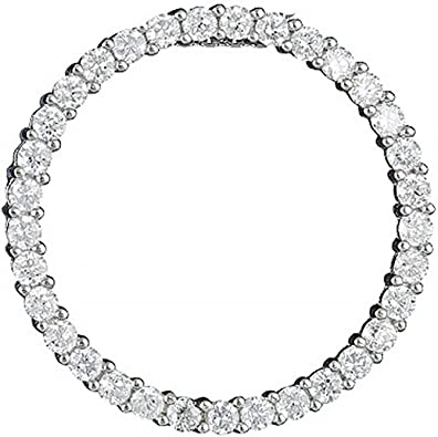 925 Sterling Silver Rhodium-plated Polished CZ 2-Circles Charm Pendant