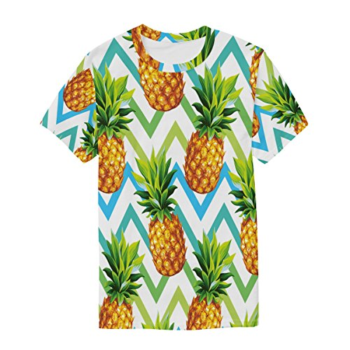 Manches Ananas Tropical Alaza Du Ras Cou Homme T Courtes Décontracté Multicolore shirt Chevron rqEEIS5