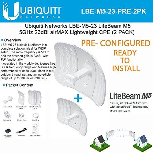 LiteBeam M5 LBE-M5-23-US 23dBi Long-Range Wireless Antenna PoE Lightweight Airmax PRECONFIGURED - Ready to Install- 2 Pack -