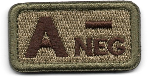 Tactical Blood Type A- Negative NEG Hook and Loop Patch Embroidered Morale Military Badge for Outdoors (Coyote Brown A-) (Velcro Type)