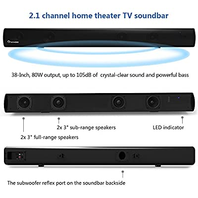2.1 Channel Bluetooth Sound Bar, Wohome TV Soundbar with Built-in Subwoofer(Wireless Home Theater Speaker,38-Inch, 80W, 4 Drivers, Remote Control, Wall Mountable, Model S11)
