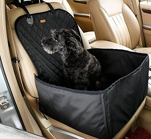 Xinjiener Soft Dog Cat Car Front Safety Seat Cover Folding Washable Pet Carriers Storage Bag Travel Cushion Mat Pad Dog Car Seat Waterproof Backseat Bed Blanket Predector for Pet Black