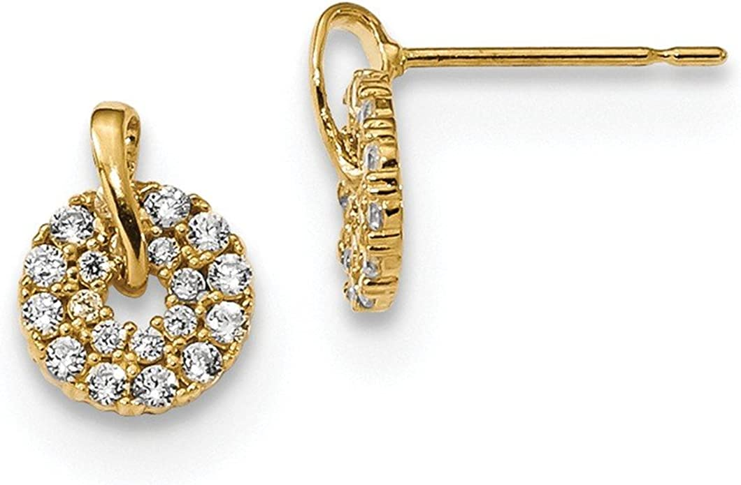 Details about  /Real 14kt Yellow Gold Madi K CZ Crown Post Earrings