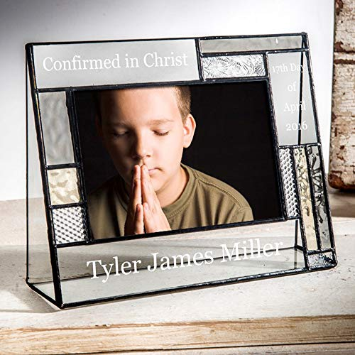 Confirmation Picture Frame 4x6 Horizontal Photo Engraved Glass Keepsake Personalized Religious Gift for Boy or Girl J Devlin Pic 392-46H EP578 ()