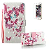 "For iPhone 6/6S Case [with Free Screen Protector], Funyye Premium New 3D Folio PU Leather Wallet Magnetic Flip Cover with [Wrist Strap] and [Colorful Printing Painting] Stylish Book Style Full Body Protection Holster Case for iPhone 6/6S 4.7""-Little Butterfly"
