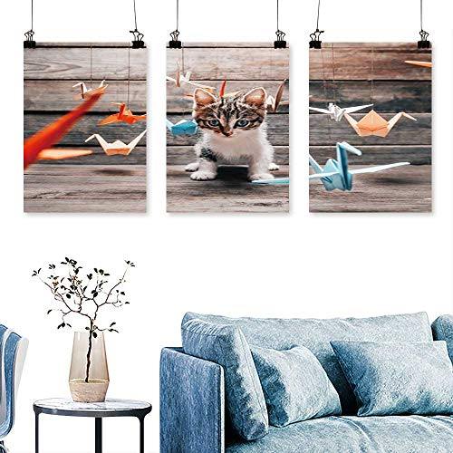 SCOCICI1588 3pcs Triptych Cute Little Kitten Sitting Among Colorful Paper Origami Cranes and Staring at Camera Art Home Decor No Frame 12 INCH X 12 INCH X 3PCS ()