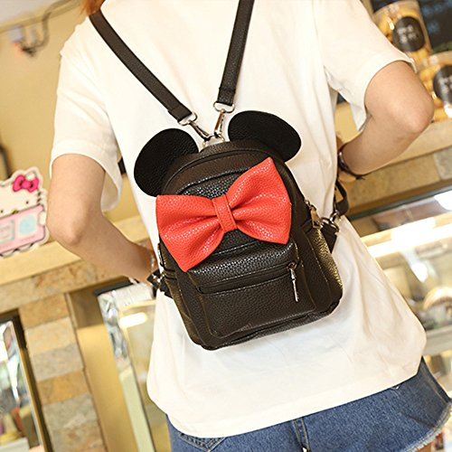 Midress Mouse Ear Backpack Female Mini Bag Women's Backpack, School Backpack Water Resistant Work Business College Travel Backpack (Black) by Midress (Image #6)