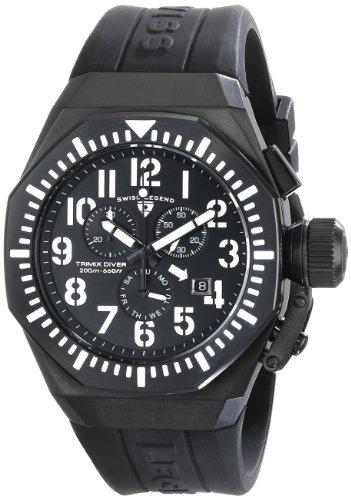 Swiss Legend Men's 10540-BB-01-WA Trimix Diver Chronograph Black Dial Black Silicone Watch