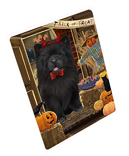 Enter at Own Risk Trick or Treat Halloween Chow Chow Dog Large Refrigerator/Dishwasher Magnet RMAG79404 (11.5