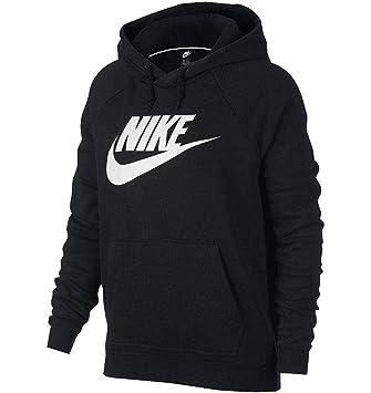 low priced 88812 21e34 Nike W NSW Rally Hoodie HBR Sweat-Shirt Femme, Black White, FR