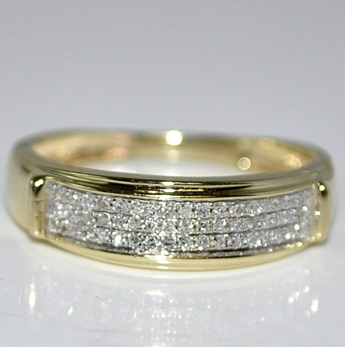Yellow Gold Trio Wedding Set Mens Women Rings Real 0.38cttw Diamonds Princess Pave(i2/i3, I/j)