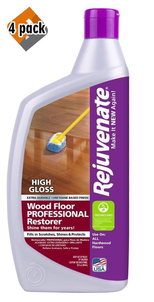 Rejuvenate Professional Wood Floor Restorer with Durable High Gloss Finish Non-Toxic Easy Mop On Application - 32 Ounces - 4 Pack