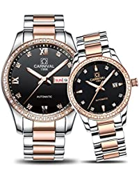 Couple Watches Men and Women Automatic Mechanical Watch Fashion Chic for Her or His Set of 2 (Rose Gold Black)