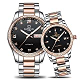CARNIVAL Couple Watches Men and Women Automatic Mechanical Watch Fashion Chic for Her or His Set of 2 (Rose Gold Black)