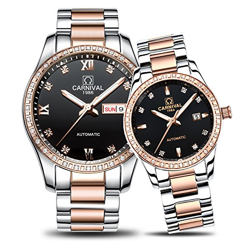 CARNIVAL Couple Watches Men and Women Automatic Mechanical Watch Fashion Chic for Her or His Set of 2 (Rose Gold Black) by Carnival