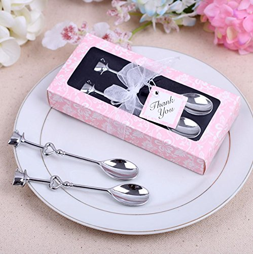 Love Heart Stainless Steel Couple Coffee Spoons For Wedding Favor and baby shower, Set of 70 by cute rabbit