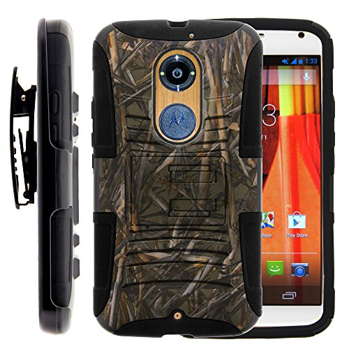 Moto X 2nd Gen Case, Moto X 2nd Gen Holster, Two Layer Hybrid Armor Hard Cover with Built in Kickstand for Motorola Moto X 2014 2nd Generation XT1092 XT1093 XT1094 XT1095 XT1096 XT1097 (AT&T, T Mobile, Verizon, US Cellular) from MINITURTLE | Includes Screen Protector - Dry Wood Camouflage