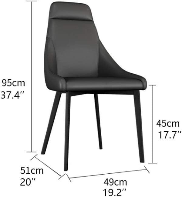 2pcs Nordic Light Chaise Accueil Simple Restaurant Tabouret Hôtel PU Cuir Souple Salle à Manger en Acier chaises de Salle (Color : Brown) Brown