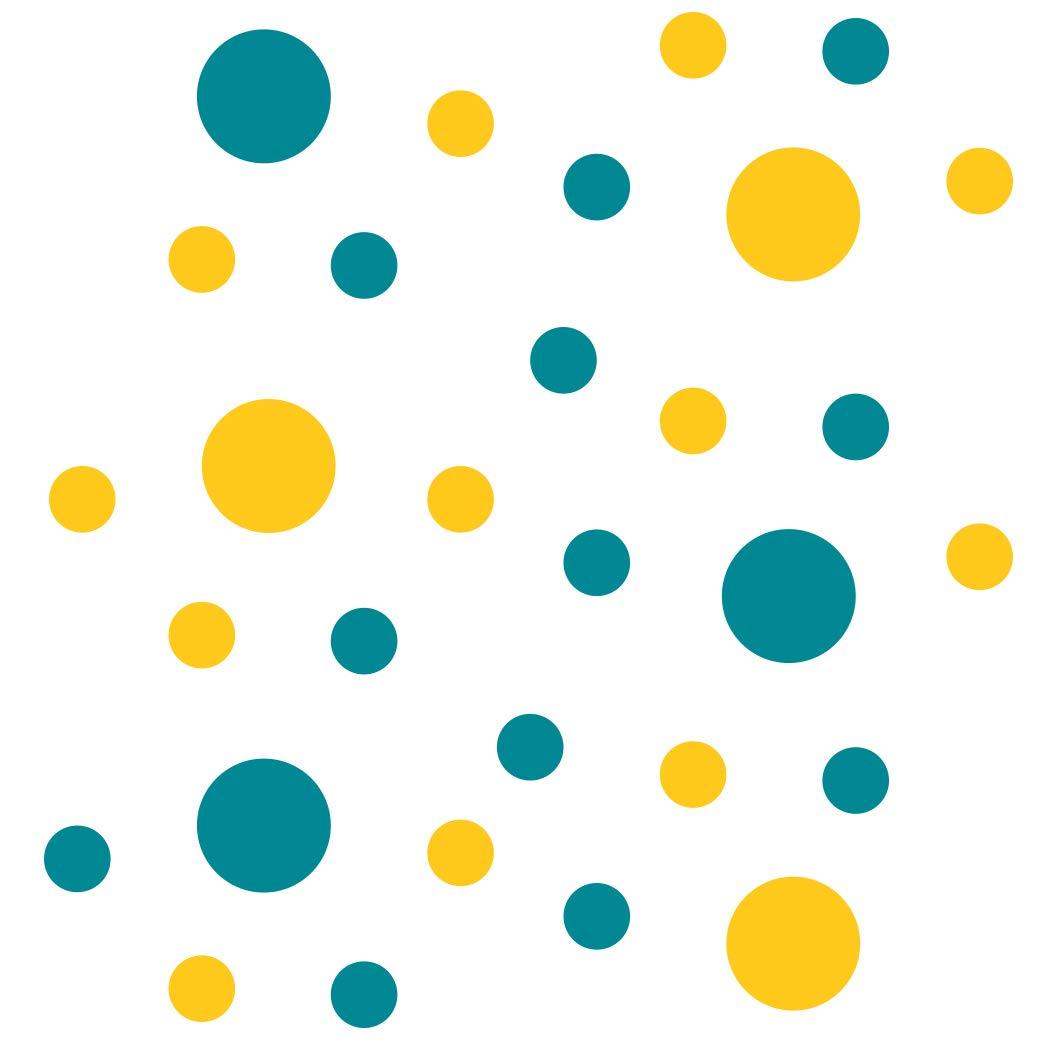Set of 30 Turquoise//Yellow Circles Polka Dots Vinyl Wall Graphic Decals Stickers