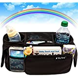 Stroller Organizer, Baby Organizers Fits All Strollers, Britax, Graco, Pram, City Stroller, Maclaren, Works Best with Cute Babies, Collapsible Frame Folds Design with 2 Deep Drink Holders & 1 Large Zippered Pouch Keep Your Essentials