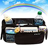 Stroller Organizer - Baby Organizers Fits All Strollers - Britax - Graco - Pram - City Stroller - Maclaren - Works Best with Cute Babies - Collapsible Frame Folds Design with 2 Deep Drink Holders & 1 Large Zippered Pouch Keep Your Essentials