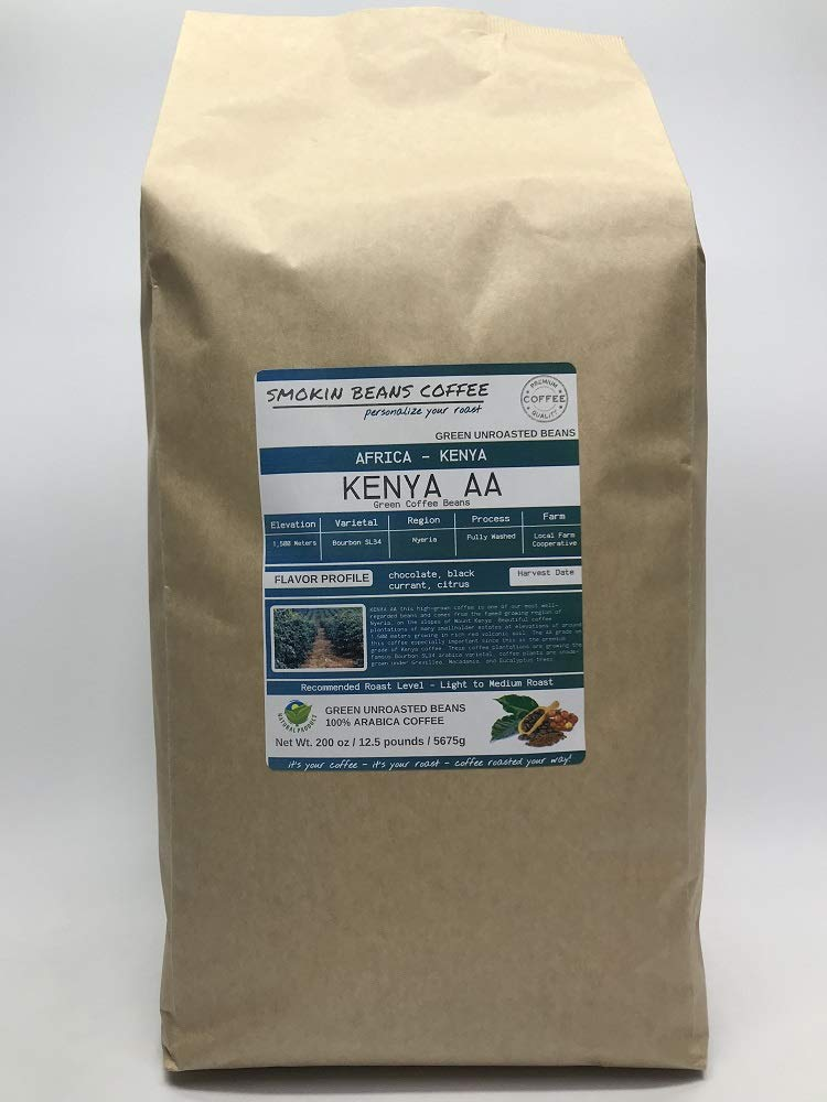12.5 Pounds - Northern Africa - Kenya - Unroasted Arabica Green Coffee Beans - Grown In Region Nyeria - Altitude 1500M - Varietals Bourbon,SL34 - Drying/Milling Process Fully Washed by Smokin Beans