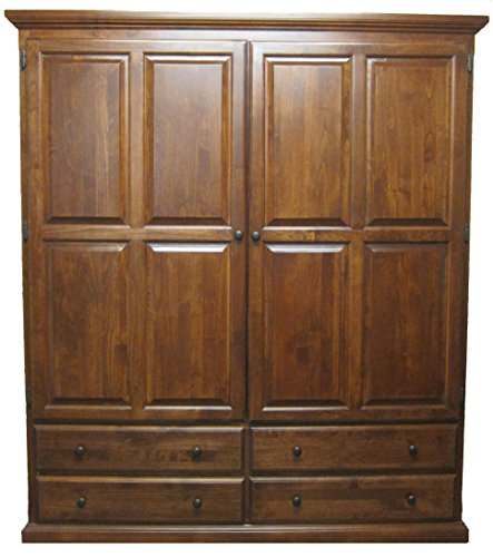 Forest Designs Traditional Wardrobe, 60W x 72H x 21D, Unfinished Alder