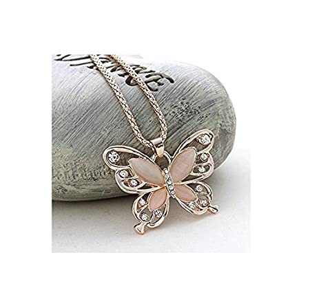 Thimmei Fashion Women Rose Gold Opal Butterfly Charm Pendant
