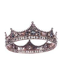 Retro Baroque Beaded Queen Tiara Crown Wedding Hair Accessory Headdress Headband