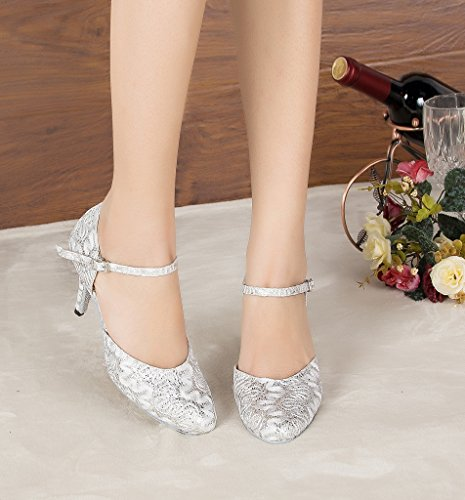 Miyoopark Womens Floral Mary Jane Satin Party Evening Pumps Scarpe Da Ballo Bianche