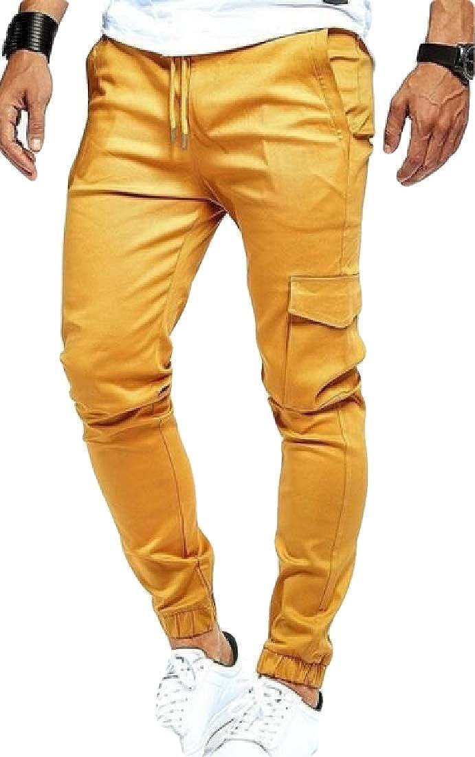 Spirio Men Elastic Waist Jogger Pockets Casual Drawstring Sports Long Pants
