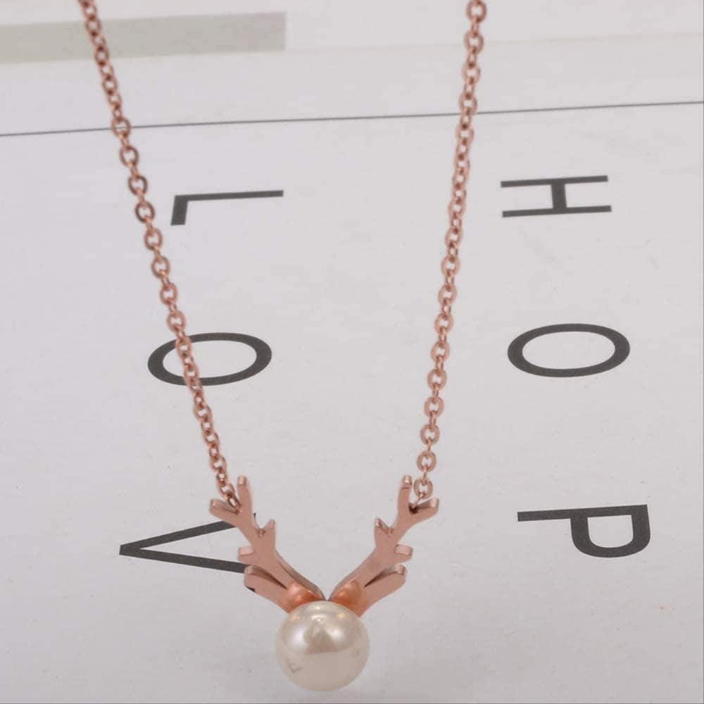 PPQKKYD Collar Collar de Oro Rosa de Acero de Titanio Ciervos Lindos Cadena de clavícula Accesorios de Perlas de Ciervo Dulce Colgante GIF