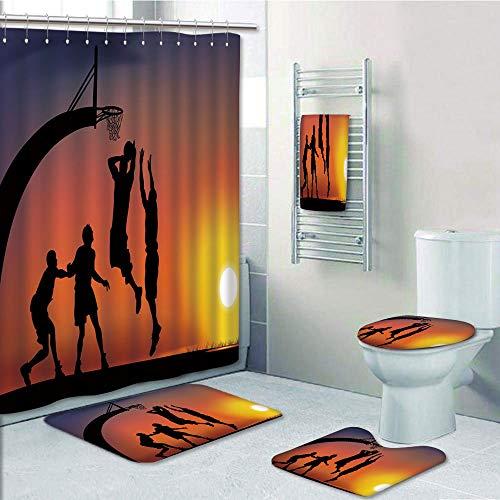 (Bathroom 5 Piece Set shower curtain 3d print,Teen Room Decor,Boys Playing Basketball at Sunset Horizon Sky Dramatic Scene Decorative,Dark Coral Black Yellow,Bath Mat,Bathroom Carpet Rug,Non-Slip,Bath )