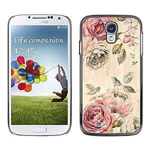 Paccase / SLIM PC / Aliminium Casa Carcasa Funda Case Cover - Rose Rustic Wallpaper Floral Rose - Samsung Galaxy S4 I9500
