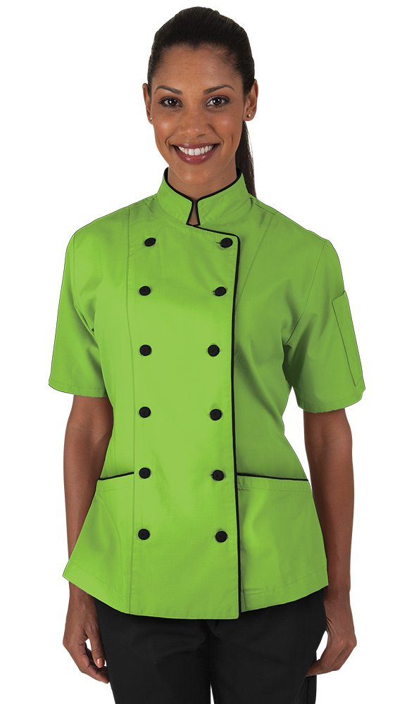 Women's Apple Green Chef Coat with Piping (XS-3X) (XXX-Large)