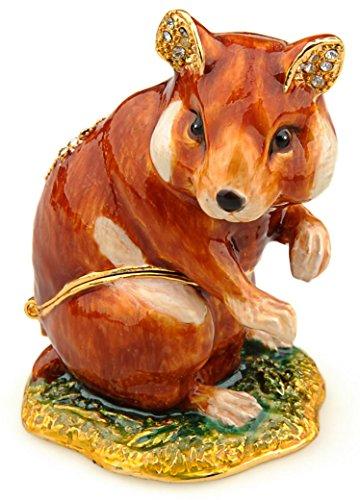 Crystal Gold Silver Plated Trinket (Jewelled Hamster enameled trinket box)