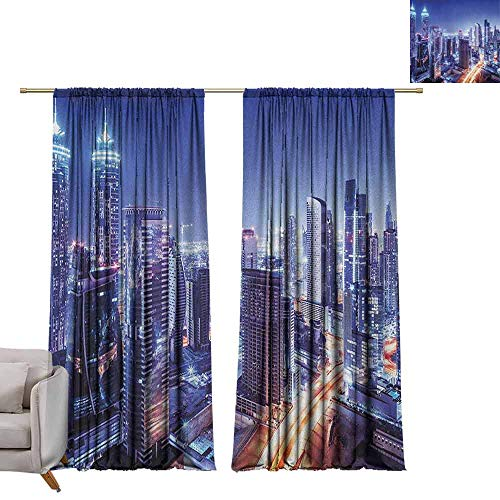 berrly Blackout Curtain Panels City,Dubai Downtown UAE Night Scenery Modern High Rise Buildings Travel Destination, Violet Blue Orange W84 x L84 Art Grommet Window Drapes (Garden Contemporary Dubai Furniture)