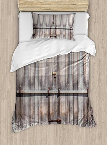 (Ambesonne Rustic Duvet Cover Set Twin Size, Retro Entrance with Padlock to Abandoned House Wooden Gate Rough Oak Agriculture Image, Decorative 2 Piece Bedding Set with 1 Pillow Sham, Brown)