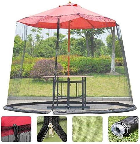 日傘用HYLH蚊帳、ジッパードア付き傘型屋外庭蚊カバー傘テーブル画面パラソルネットパティオバグに注意してください