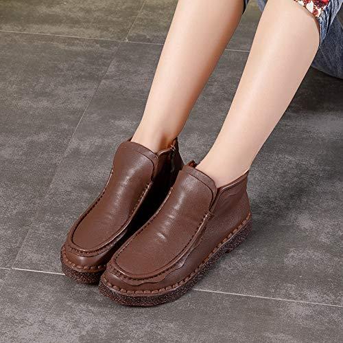 Couleur Femmes Vintage Zipper Cuir Marron plates Chaussures Taille Jaune 40 Fuxitoggo plates Eu Boots EdI8Iw