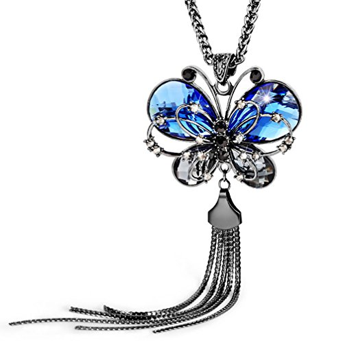 Modogirl Butterfly Tassel Sweater Long Pendant Necklace for Valentine's day(deep blue) ()