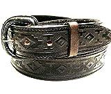 Modestone Western Unisex Leather Belt 1.5'' Width 1/8'' Thick 44 Black