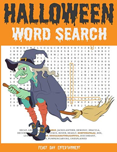 Halloween Word Search: Large Print Fall Holiday Puzzle Book For Kids And
