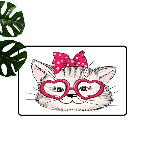 PEONIY&HOME Kitty,Doormat Hipster Sweet Cat Wearing Heart Shaped Pink Glasses and Dotted Hair Bow Indoor mat W 31