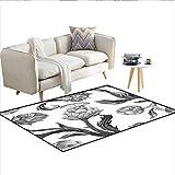 Carpet,Faded Colored Black White Super Foods Stalks Leaves Art Print,Indoor Outdoor Rug,Black White