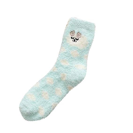 Kinlene Calcetines de mujer Grueso Pesado Invierno Cálido Crew Dot Animal Imprimir calcetines borrosos: Amazon.es: Ropa y accesorios
