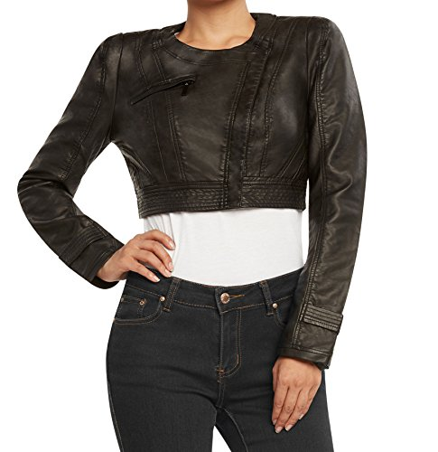 Runway New York Women's PU Leather Bolero Crop Jacket-Black Pleather-Medium