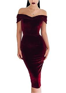 Aleumdr Femme Robe de Cocktail à Epaules Dénudées Robe Bustier en Velours  Elégant Cache-cœur Chic sans Manche… eabe4dd7c01