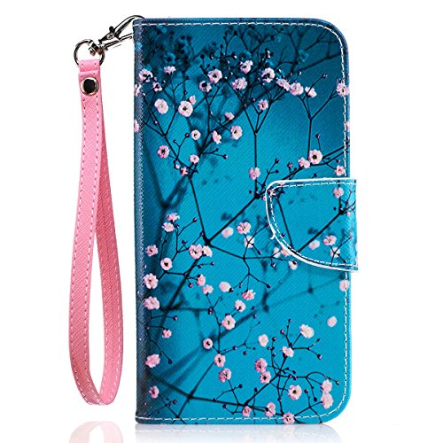 Moto G5 Plus Case, Moto G5 Plus Wallet, JanCalm [Wrist Strap][Kickstand][Card/Cash Slots] Pattern Premium PU Leather Phone Cases Flip Cover for Moto G Plus (5th Generation) + Pen (Plum blossom)